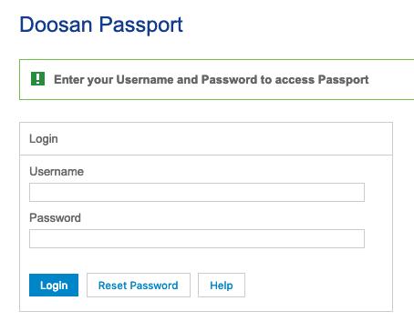 doosan passport login page