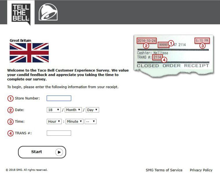 tacobell uk survey guide