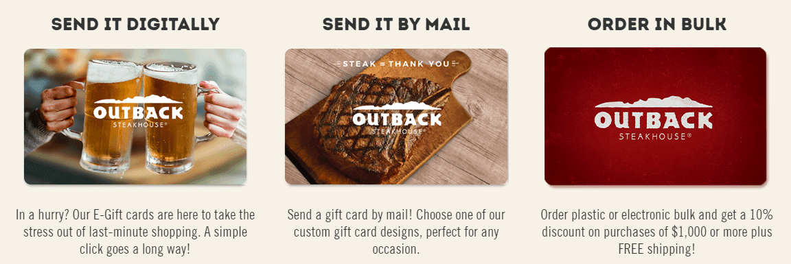 Outback gift cards
