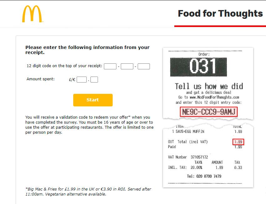 mcdonalds survey code