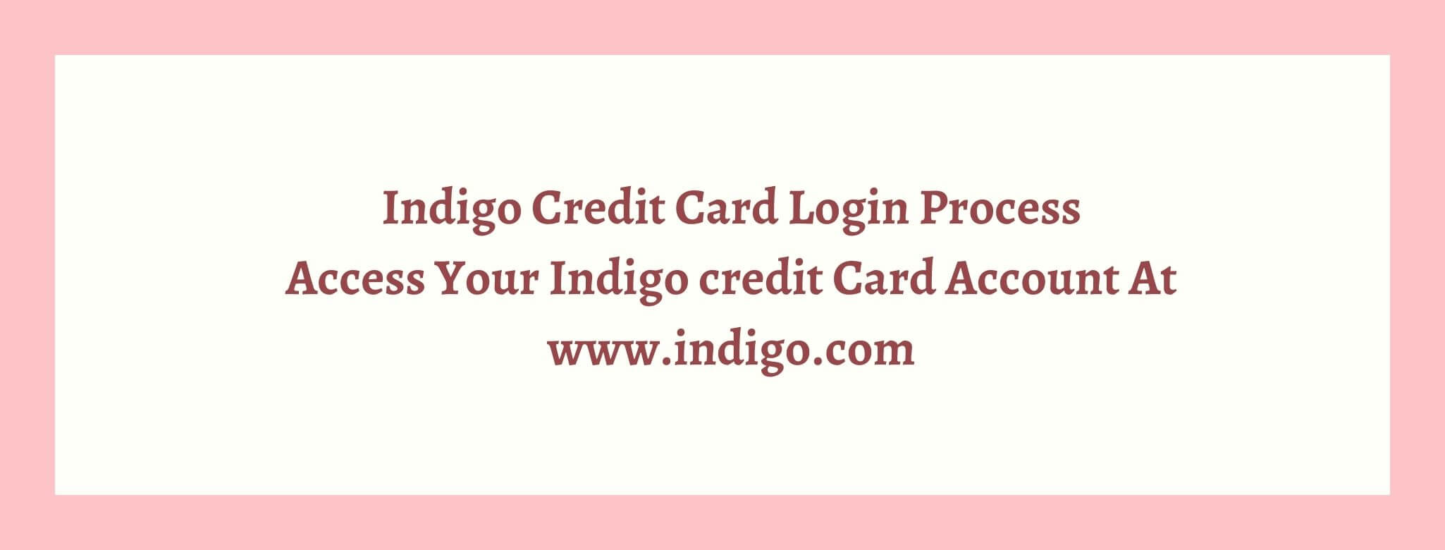 indigo credit card login